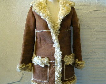 Shearling Lamb Coat Vintage 1970s Leather Suede Sawyer for Abercrombie and Fitch