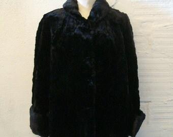 Fur Coat Vintage 1950s Black Short