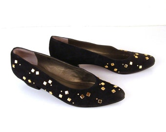 Vintage 1980s Black Suede Studded Heels Van Eli 8