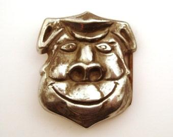 Belt Buckle Vintage 1970s Silver Tone Metal Pig Shield Cops Police