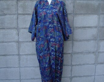Vintage Blue Double Peach Embroidered Satin Kimono