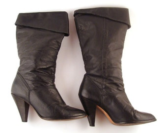 Black Vintage Boots 1980s High Heel Dingo Leather  size 6