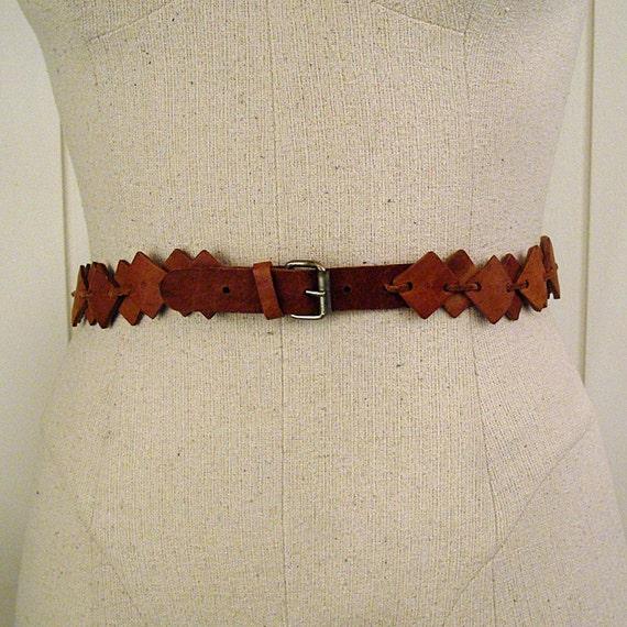 Vintage 1950s Leather Squares Belt Unique Thin