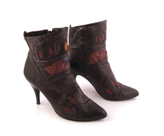 Ankle Short Boots Vintage 1980s Black Leather Wild pair Cutouts Women's size 7