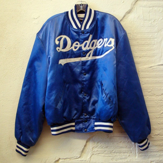 Dodgers Baseball Jacket Vintage Satin Nylon by purevintageclothing