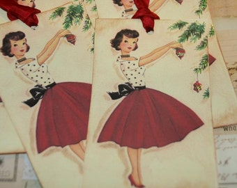 Christmas Tags, Retro Housewife, Holiday Gift Tags, Vintage Housewife