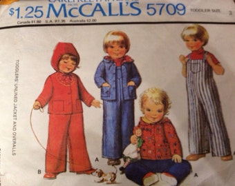Toddler Girls Boys Jacket and Overalls Sewing Pattern Size 3 McCalls 5709 Vintage 1970s