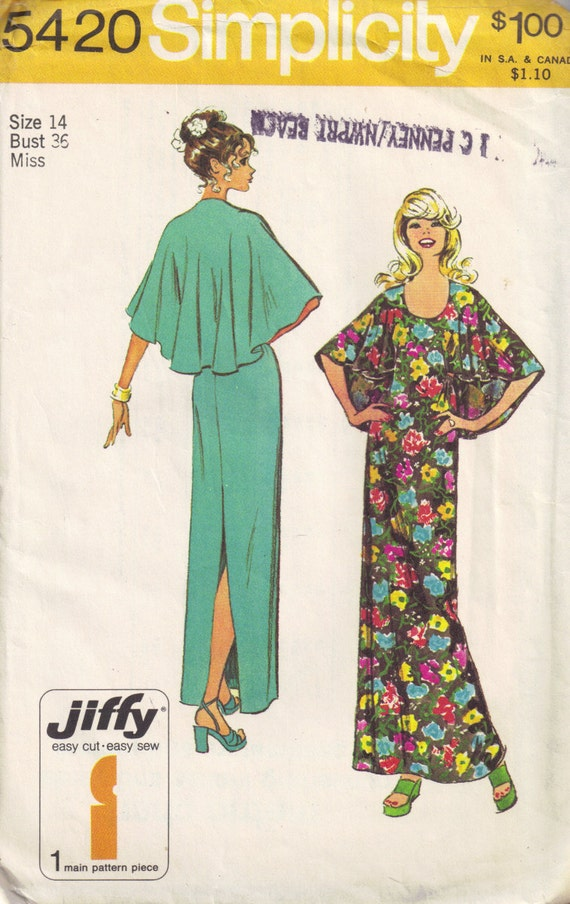 Vintage 1970 Simplicity 5420 Sewing Pattern Backless Maxi Dress With Capelet Cape size 14 Bust 36