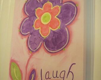 "Baby nursery decor Children wall art Nursery art paintings Kids girls room decor Nursery 11 x 14 pink purple daisy ""laugh flower"""