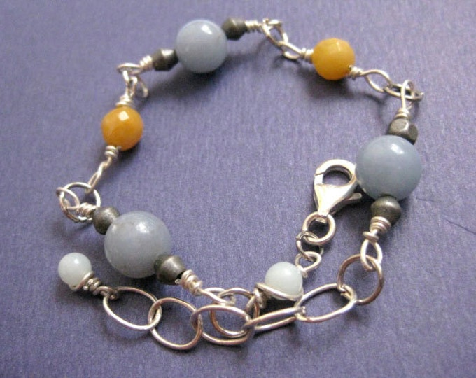 Dusty Blue and Gold Jade Beaded Sterling Silver Bracelet