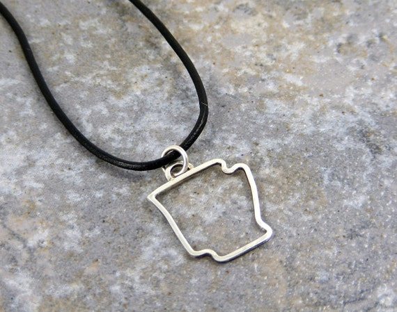 Sterling Silver, State charm, Charm on Leather Necklace, Handmade, Personalized, State, Texas, Oklahoma, Nebraska