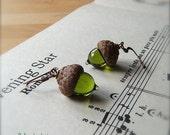 Glass Acorn Earrings in Transparent Green Olivine by Bullseyebeads