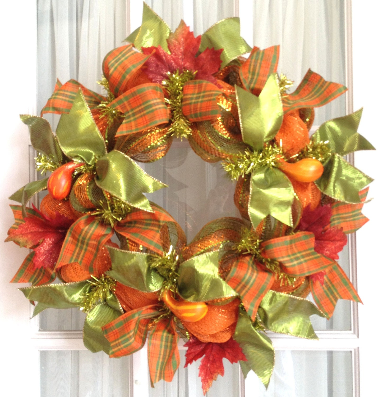 Deco mesh wreath fall slim screen door lime orange gourds fall for Deco decorations