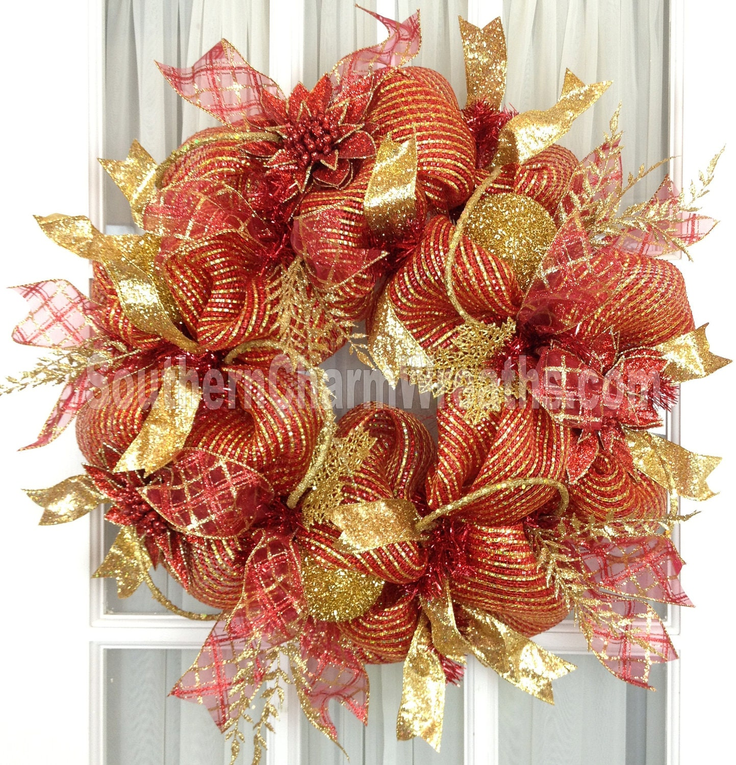 Mesh christmas wreath red gold holiday decor glitter ribbon for Red with gold