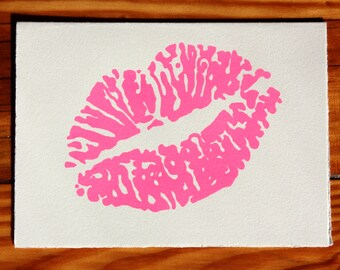 Valentines day Lips greeting card