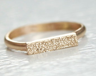 14k Gold Bar Ring - Gold Bar Ring - Pave Finish Gold Ring - Feminine Gold Ring - Dainty Modern Ring - Pave Finish Ring - Recycled Metal