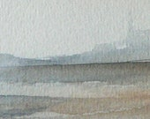 original watercolor painting of a meditative scene of sailing boats