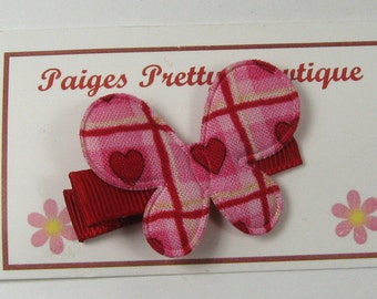 "1.5"" Red & Pink Heart Pattern Butterfly Hair Clip-Toddler Hair Clip-Baby Hair Clip-Alligator Clip"