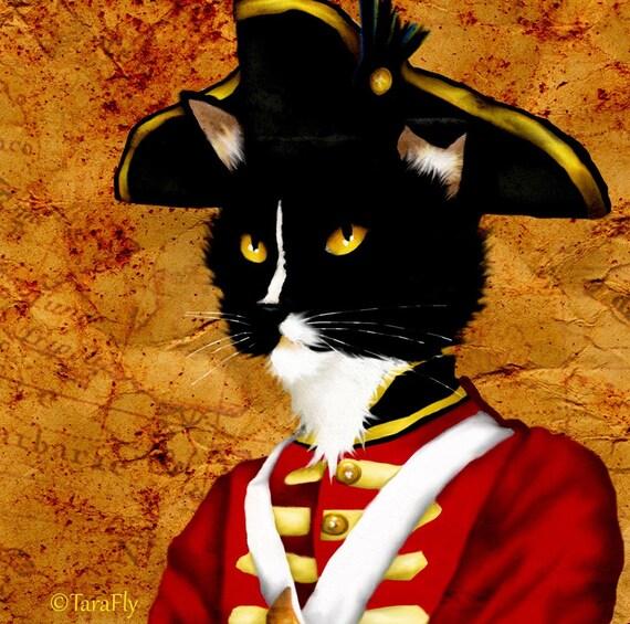 Tuxedo Cat Art, Redcoat British Soldier Cat in Army Uniform 5x7 Fine Art Print