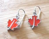 Canada Maple Leaf Enamel Charm Earrings