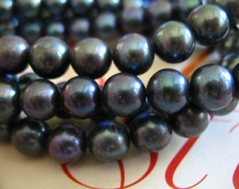 Shop Sale.. ROUND Black Pearl Beads, Freshwater Cultured Pearls, Luxe AA, 1/2 Strand mm, Tahitian Black, 8.5-9.5 mm, bridal brides rb 810
