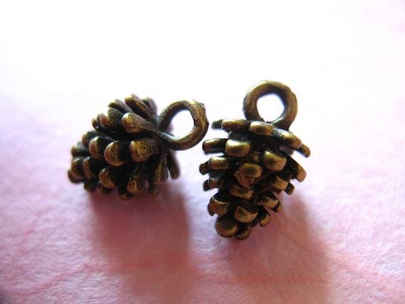 10 pcs, PINECONE  Charms Pendants  Pine Cone Bulk, 12x8 mm, 3 D, Antique Silver Gold or Rose Brass, winter weddings brides bridal woodland