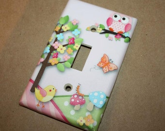 Owls Love Birdies Girls Bedroom Single Light Switch Cover