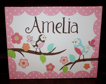 Personalized Love Birdies Stretched Canvas Children's Bedroom Wall Art CS0023