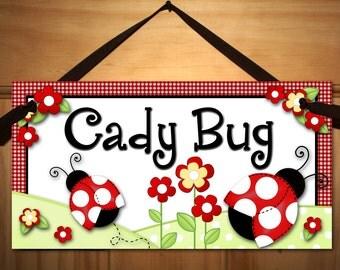 Little Ladybug Baby Girls Nursery Bedroom DOOR SIGN Wall Art DS0056