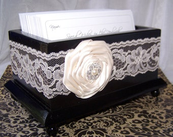 Wedding Guest Book Box -Black Box with Ivory Lace, Black and Ivory,  Custom colors available