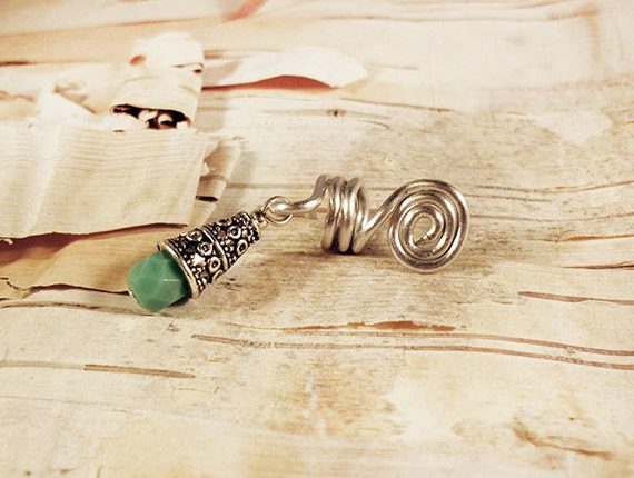 Silver and Turquoise Morrocan Stone Charm Dreadlock Accessory Extension Accessories Dread Boho Bohemian Hippie Bead Dangle