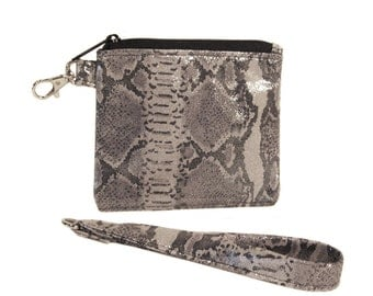 SALE! Silver Snake Leather ID Wallet - Upcycled Embossed Snake Leather - JESSIE