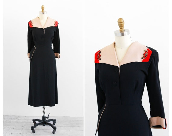 r e s e r v e d - vintage 1940s dress / 40s dress / Art Deco Pink and Black Dress with Coral Velvet Accents