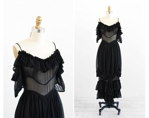 vintage 1920s dress / black 1930s dress / Sheer Black Georgette Bubble Hem Evening Gown