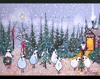 Through The Eyes Of Love a tiny Sheep Christmas Tree Lot Snow Print by Deborah Gregg