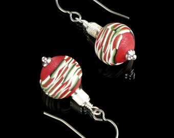 Red Christmas Ball Dangle Earrings - Christmas Holiday Jewelry - Polymer Earrings - Unique Earrings - Christmas Earrings - Festive Jewelry