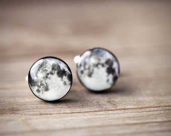 Full moon cufflinks,  for him, Space Cufflinks, Planet cufflinks, Small gift for husband, Galaxy cufflinks, Science gift