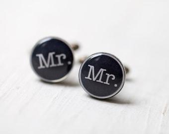 Mr. Cuff links - Wedding cufflinks for groom (C025)