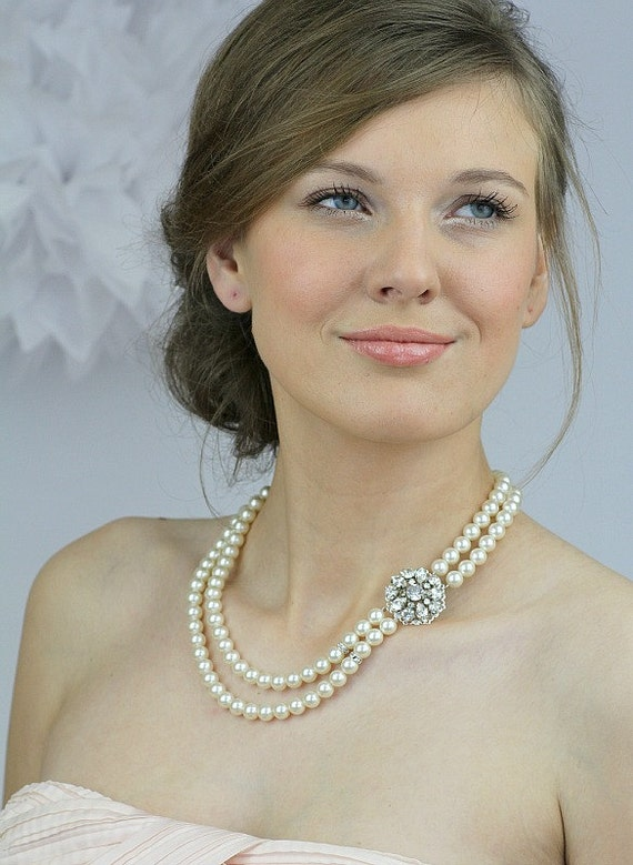 Wedding pearl necklace, bridal necklace, ivory pearl necklace,Vintage style bridal necklace, bridal party jewelry - Style 724