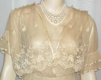 Antique Steampunk Net Lace Dress Victorian Edwardian Flapper Small