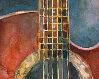 Acoustic Ovation Guitar Fine Art Print - Applause - Red body - Fine Art Print - 8.5 x 11
