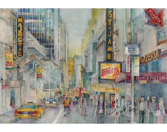 Bring it ON! New York Theatre District (2013) Watercolor Print by Dorrie Rifkin