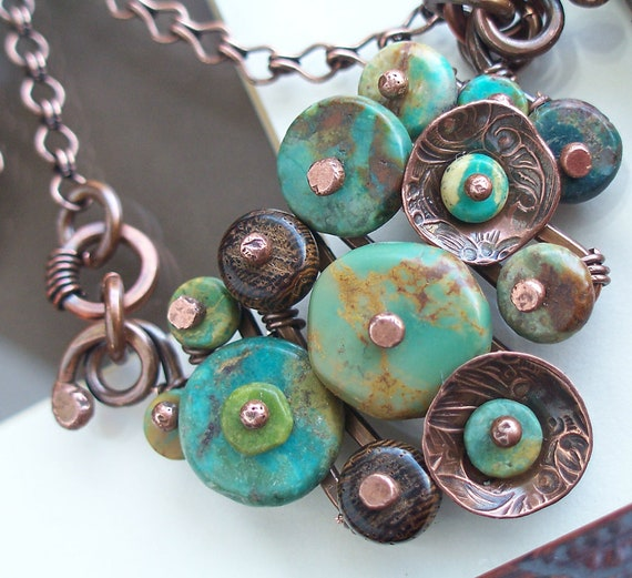 Turquoise Buttons Necklace with Brown Wood and Antiqued Copper