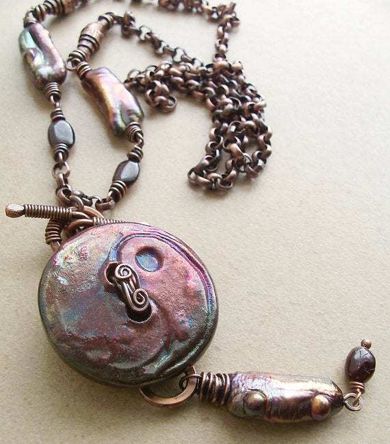 Plum Raku Button Pendant with Garnets, Peacock Pearls and Antiqued Copper