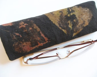 Black Eyeglass Case Soft Eyeglass Case Reading Glass Nature Leaf Print