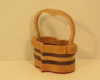Heart Basket with Handle Small Handmade