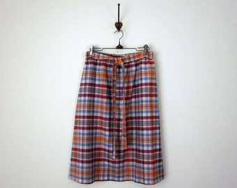 70s skirt / cotton plaid gathered tie waist (m - l)