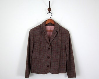 60s jacket / grey plaid wool button fitted blazer coat (m - l)