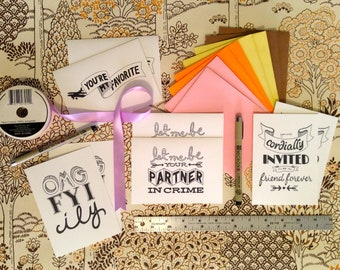 hand-lettered note cards: sweet little love notes variety pack of 8