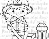Digital Stamp - Firefighter and hydrant